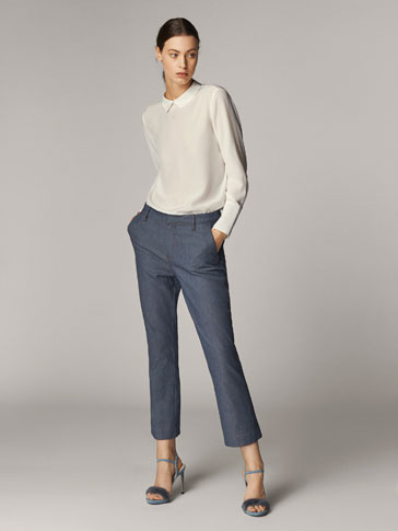 CROPPED FIT DENIM-EFFECT TROUSERS