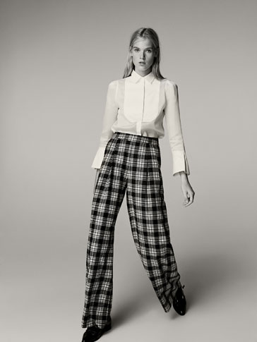 CHECKED WOOL TROUSERS WITH PLEATED DETAIL