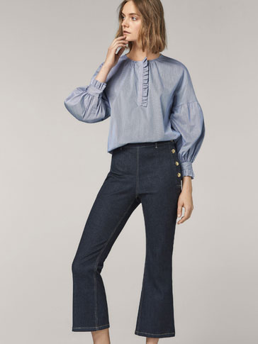 CROPPED FIT DENIM TROUSERS WITH BUTTON DETAIL