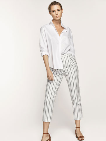 STRIPED LINEN TROUSERS WITH SIDE DETAIL