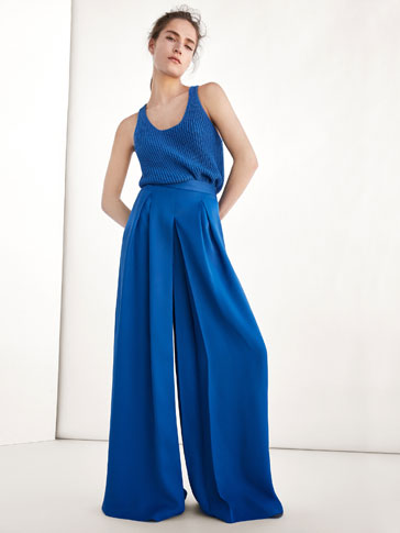 PALAZZO TROUSERS WITH PLEATS DETAIL