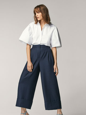 CULOTTE FIT CHECKED TROUSERS