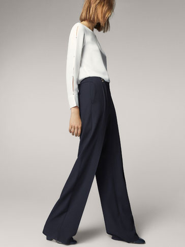 NAVY BLUE TROUSERS WITH BUTTON DETAIL