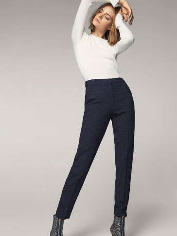 NAVY BLUE JACQUARD TROUSERS