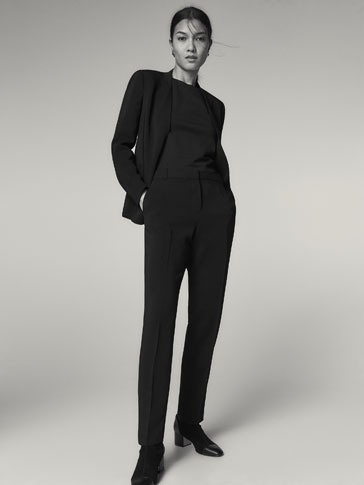 BLACK CREPE SUIT TROUSERS