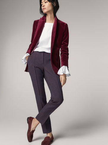 SLIM FIT CHECKED JACQUARD TROUSERS