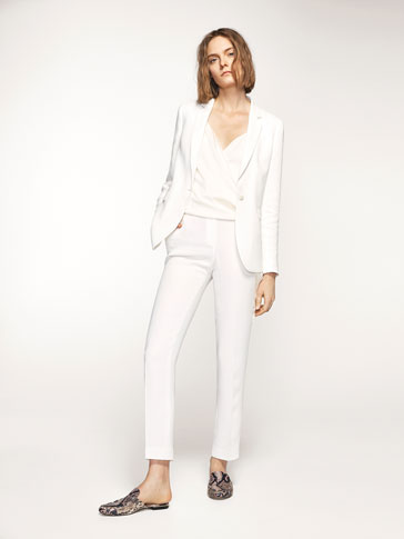 ECRU CREPE SUIT TROUSERS