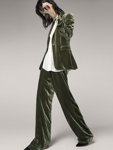 GREEN SILK VELVET TROUSERS