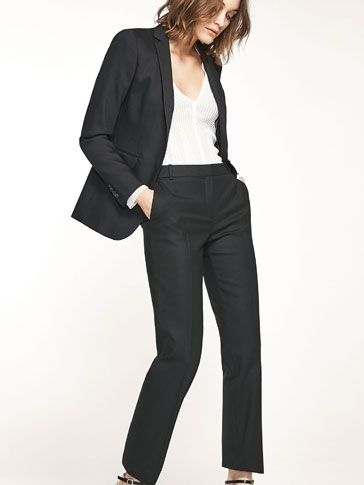 BLACK TWILL SUIT TROUSERS