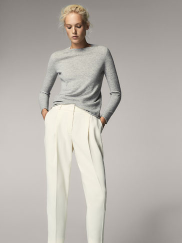 CREAM FLOWING TROUSERS