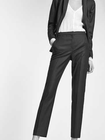 BLUE TEXTURED WEAVE SUIT TROUSERS