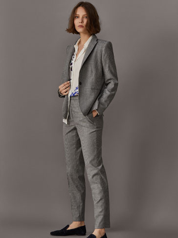 GREY GINGHAM SUIT TROUSERS
