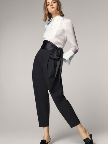LIMITED EDITION CONTRASTING TROUSERS WITH BOW DETAIL