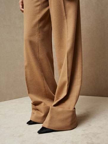 LIMITED EDITION WOOL/CASHMERE TROUSERS WITH ROLLED-UP HEM DETAIL
