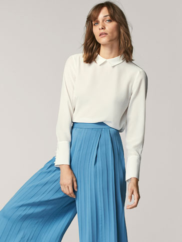 CULOTTE FIT STRIPED TEXTURED WEAVE TROUSERS