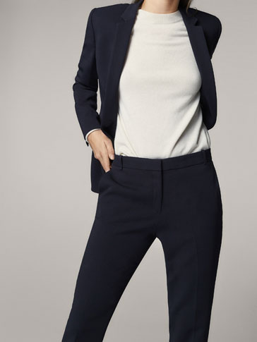 NAVY BLUE CREPE SUIT TROUSERS
