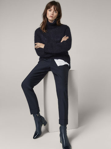 JOGGING FIT WOOL TROUSERS WITH BOW DETAIL