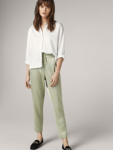 JOGGING FIT SATIN TROUSERS WITH BOW DETAIL