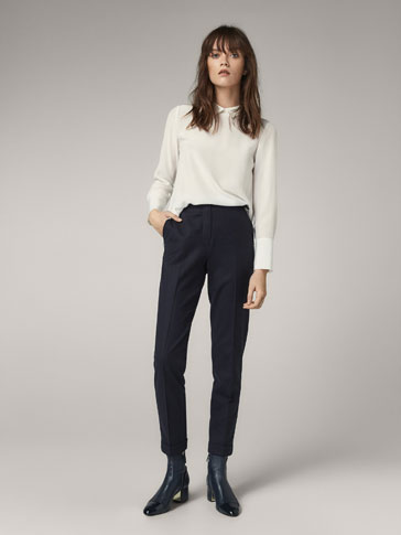 SLIM FIT WOOL TROUSERS WITH BUCKLE DETAIL