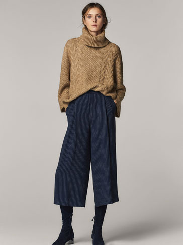 PINSTRIPED CULOTTE FIT TROUSERS WITH DARTS DETAIL