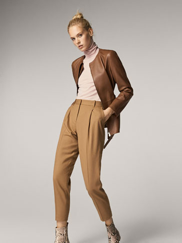 SLIM FIT WOOL TROUSERS WITH DARTS DETAIL