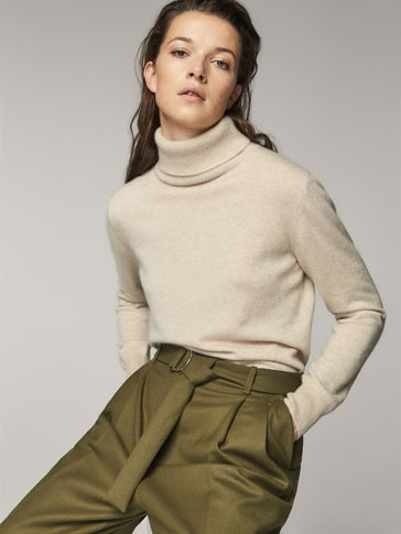 GREEN WOOL TROUSERS WITH BELT DETAIL