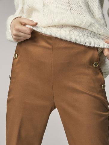 Kalhoty S KnoflÍky Na StranÁch Slim Fit by Massimo Dutti