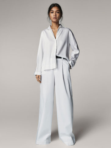 WHITE PALAZZO TROUSERS