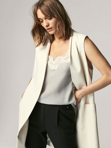 SILK TOP WITH LACE DETAIL