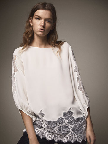 OVERSIZED SILK BLOUSE WITH CONTRASTING LACE
