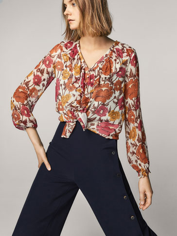 FLORAL PRINT SILK SHIRT WITH RUFFLED TRIMS
