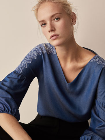 DENIM BLOUSE WITH LACE DETAIL