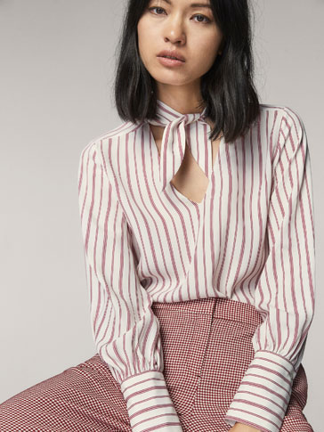 STRIPED SHIRT WITH TIE DETAIL