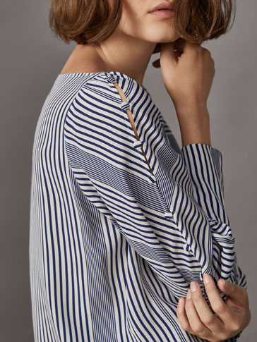 NAUTICAL STRIPED SHIRT WITH BUTTONED SLEEVES
