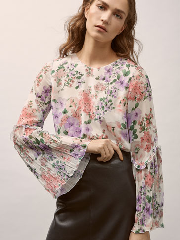 FLORAL PRINT SHIRT WITH RUFFLE TRIMS AND PLEATS