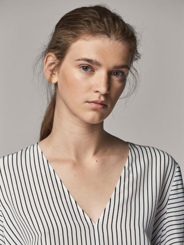 STRIPED SHIRT WITH FLARED SLEEVES
