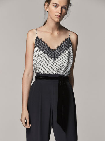 DOTTED MESH SILK TOP WITH LACE TRIM DETAIL