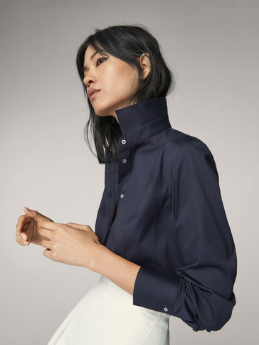 NAVY BLUE STRETCH FIT SHIRT