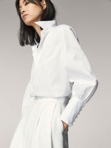 POPLIN SHIRT WITH PLEATED DETAIL