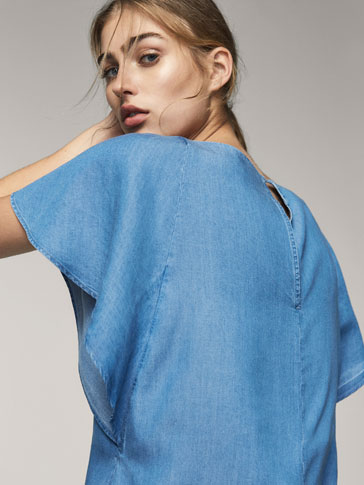 DENIM BLOUSE WITH CASCADING SLEEVES