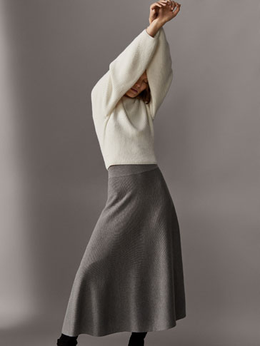 FLARED TEXTURED WEAVE WOOL SKIRT