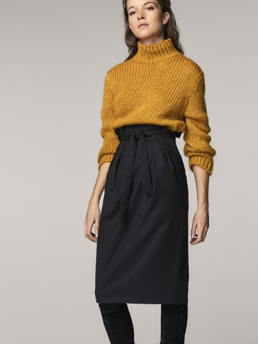 WOOL SKIRT WITH TIED DETAIL
