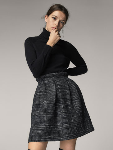 EMBELLISHED CHECK WOOL SKIRT