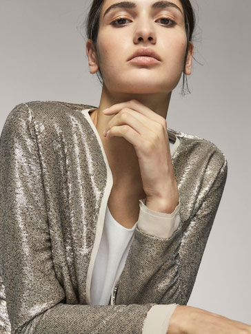 SEQUINNED CARDIGAN WITH CONTRASTING DETAILS