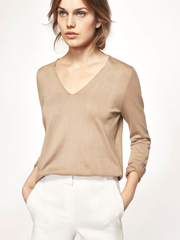 KNIT SWEATER WITH ELBOW PATCHES