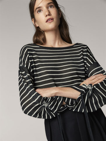 STRIPED CAPE-STYLE SWEATER WITH GATHERED DETAIL