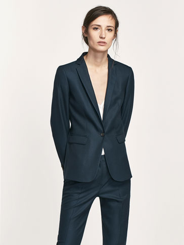 BLUE TEXTURED WEAVE SUIT BLAZER