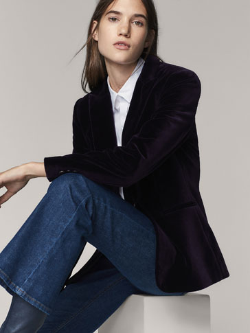 SLIM-FIT-BLAZER AUS SAMT