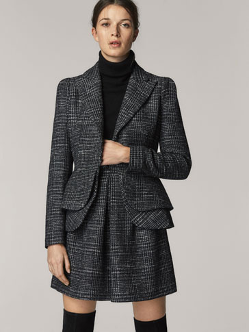 SLIM FIT EMBELLISHED CHECK WOOL BLAZER