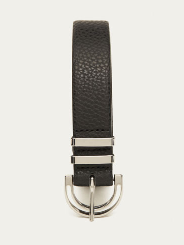 LEATHER BELT WITH DOUBLE METAL LOOP